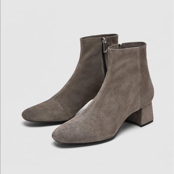 Zara Shoes | Split Suede Mid Heel Ankle